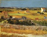 vincent van gogh harvest landscape with blue cart oil painting
