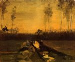vincent van gogh landscape at dusk oil painting