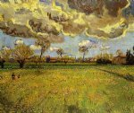 vincent van gogh landscape under a stormy sky oil painting
