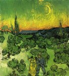 vincent van gogh landscape with couple walking and crescent moon oil painting