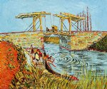 vincent van gogh langlois bridge at arles with women washing print