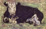 lying cow by vincent van gogh painting