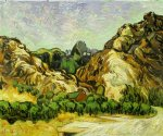 vincent van gogh mountains at st. remy with dark cottage painting