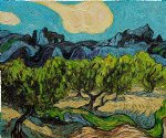 vincent van gogh olive trees with the alpilles in the background iii painting-23575
