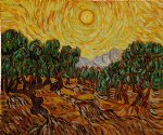 vincent van gogh olive trees with yellow sun and sky painting-23578