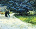 vincent van gogh public garden with couple and blue fir tree art