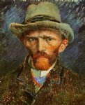 portrait paintings - self portrait with a grey felt hat by vincent van gogh