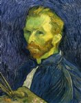 portrait paintings - self portrait with pallette by vincent van gogh