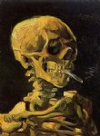 vincent van gogh skull with burning cigarette painting-23704