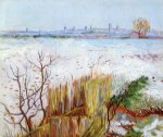landscape paintings - snowy landscape with arles in the background by vincent van gogh