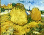 vincent van gogh stacks of wheat near a farmhouse painting