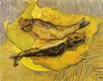 vincent van gogh still life bloaters on a piece of yellow paper painting 23715