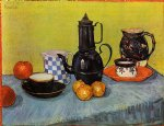 vincent van gogh still life blue enamel coffeepot earthenware and fruit painting 23716