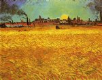 vincent van gogh sunset wheat fields near arles oil painting