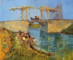 the langlois bridge at arles with women washing by vincent van gogh painting
