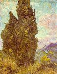 two cypresses by vincent van gogh painting