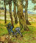 vincent van gogh two diggers among trees painting