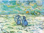 vincent van gogh two peasant women digging in field with snow print