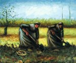 vincent van gogh two peasant women digging potatoes painting