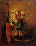 vincent van gogh vase with carnations and roses and a bottle painting 23883