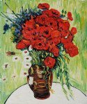 vincent van gogh vase with daisies and poppies painting-23885