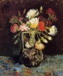 vase with white and red carnations by vincent van gogh painting