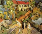 vincent van gogh village street and steps in auvers with two figures oil painting