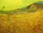 vincent van gogh wheat fields with reaper at sunrise painting-23956