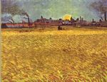 vincent van gogh wheatfield at sunset painting
