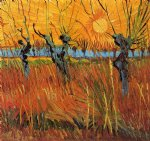 vincent van gogh willows at sunset oil painting