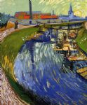 vincent van gogh women washing on a canal painting