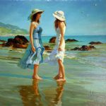 dames sur la plage by vladimir volegov paintings