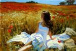 picnic amongst the poppies by vladimir volegov painting