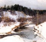 willard leroy metcalf the frozen pool march painting