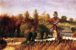 autumn scene in north carolina with cabin wash line and cornfield by william aiken walker painting