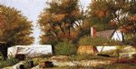 william aiken walker autumn scene in the woods of north carolina with house and stacks of wood painting 23077