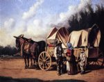 william aiken walker covered wagon with negro family painting