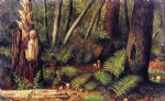 forest with ferns and mushrooms by william aiken walker painting