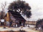 william aiken walker louisiana cabin scene with stretched hide on weatherboard and stock chimney covered with clay painting