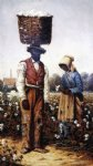 negro couple in cotton field woman with yellow bonnet by william aiken walker posters