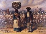 negro man and woman in cotton field with baskets of cotton by william aiken walker posters