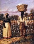 negro man and woman in cotton field with cotton baskets by william aiken walker posters