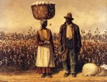 negro man and woman with cotton field by william aiken walker posters