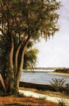city paintings - river tree city on horizon by william aiken walker