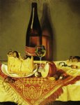 william aiken walker still life with cheese bottle of wine and mouse paintings: 23217