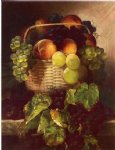 still life with grapes. plums and peaches in a basket by william mason brown painting