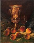 still life with peaches and marble vase by william mason brown painting
