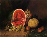 still life with watermelon grapes peaches plums and cantaloupe by william mason brown painting