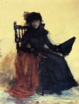 william merritt chase a lady in black painting