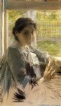 at the window by william merritt chase painting